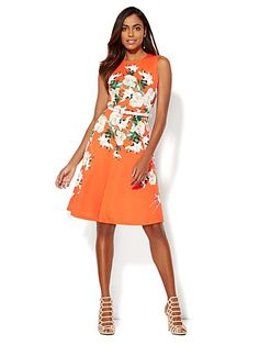 Shop Scuba Flare Dress - Floral . Find your perfect size online at the best price at New York & Company.
