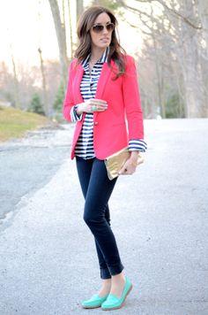 black/white stripe blouse, colored blazer, jeans, flats