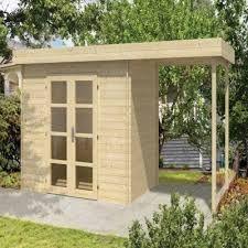 Afbeeldingsresultaat voor klein tuinhuis met overkapping