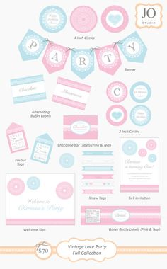 Complete Printable Collection for a Vintage Lace Birthday by JoStudioPartyPaperie / Kids Party / Vintage Lace / Kids Parties / Stationery / Jo Studio / First Birthday / Pink and Aqua / Printables by Jo Studio