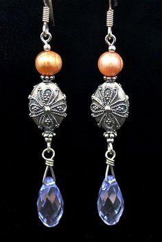 Intricately designed Bali beads w/ Swarovski briolette