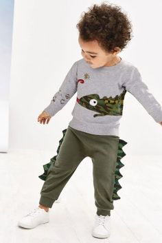 Buy Grey Chameleon Top And Joggers Set from Next Israel Toddler Outfits, Baby Boy Outfits, Kids Outfits, Boys Designer Clothes, Kids Clothes Boys, Shirts For Girls, Toddler Boys, Boy Fashion, Printed Shirts