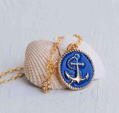 Gold & BLUE Anchor Necklace