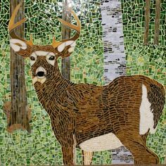 "Glass Mosaic deer | Deer in the Woods"" Glass mosaic by Pat Pray. Pat's glass art ..."