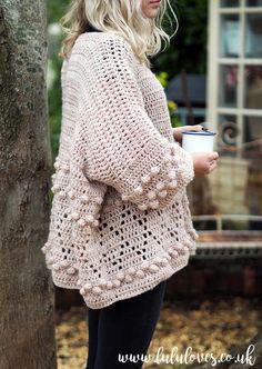 Crochet Diamonds and Bobbles Jumper Pattern PDF digital