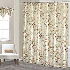 """United Curtain Company """"Chantelle"""" - Creamy  Floral Printed Crushed Voile - Free Standing Shower Curtain"""