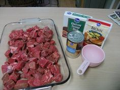 Even my pickiest eater loved these Beef Tips! 2 lb. Stew Meat, 1 can cream of mushroom, 1 packet brown gravy mix, 1 packet dry onion soup mix, 1 small can mushrooms, 1 cup water. Mix all ingredients and pour over the meat, put in oven at 300 for 3 hours. No peeking!