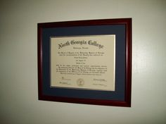 North Georgia College Bachelor of Arts diploma, framed and installed for Tabitha Jackson, Sandy Springs Georgia.  www.FramedArtExpert.com/clients.html
