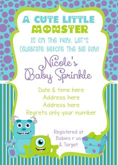 Monsters inc inspired baby shower invitation shower invitations monsters inc baby shower invitation monsters inc baby shower monsters inc invitation monsters filmwisefo Image collections