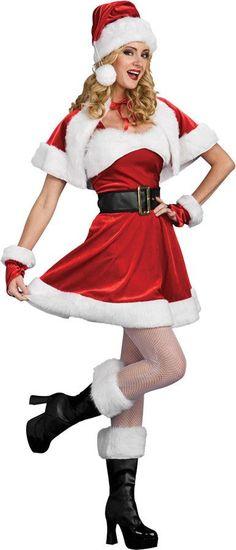 Sleeveless dress, capelet, cuffs, belt, hat and boot tops. Women's medium fits sizes 8-10.