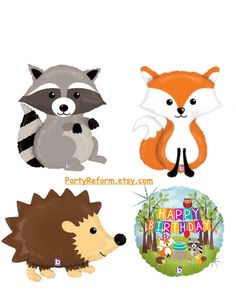 Woodland Balloons Raccoon Fox Hedgehog Happy Birthday Woodland Party Mylar Balloon Helium or Air Woodland Creatures 1st Birthday Baby Shower by PartyReform on Etsy https://www.etsy.com/listing/257001136/woodland-balloons-raccoon-fox-hedgehog