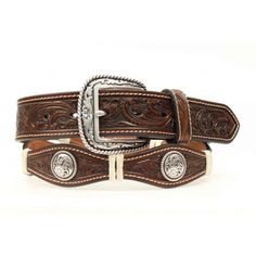 Ariat Mens Brown Leather Cowboy Belt With Scallop Floral Conchos A1013008