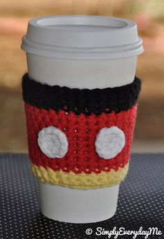 Mickey Mouse Inspired Coffee Cozy/Coffee Sleeve. $6.00, via Etsy.