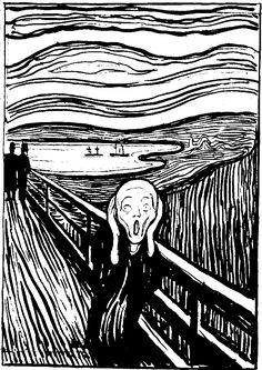 The Scream by artist Edvard Munch. Lithography, 1895. (for me the lithograph is more evocative than the painting)