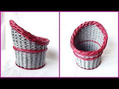 Плетение корзины из газет с объемной загибкой и плавным поднятием стенок! МК! - YouTube