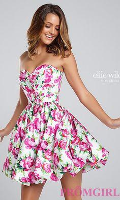 Short Fuchsia Multi Print Prom Dress TB-EW117036