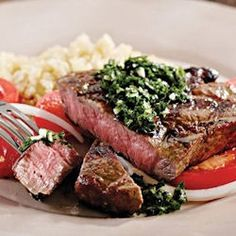 Grilled Ribeye with Chimichurri and Red Chile Mustard