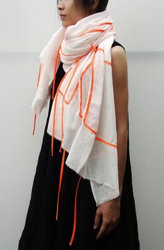 NO1 Unisex Off White/Acid Orange Cotton geometric scarve DIY inspo...... Ribbon and a plain scarf!