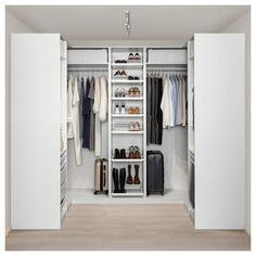PAX wardrobe – white Hokksund, high gloss black-blue dark blue – IKEA by HadleyLord Master Closet, Closet Bedroom, Bedroom Storage, Bathroom Closet, Ikea Pax Corner Wardrobe, Pax Wardrobe, Ikea Pax Closet, Wardrobe Storage, Wardrobe Ideas
