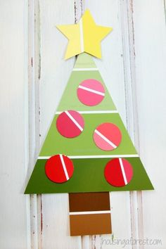 Easy Christmas Craft for Preschoolers ~ Paint Chip Christmas Tree Craft - Easy Crafting Kids Crafts, Preschool Christmas Crafts, Christmas Activities, Christmas Crafts For Kids, Kids Christmas, Holiday Crafts, Paint Chip Cards, Paint Sample Cards, 242