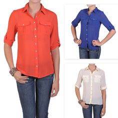 T by Hailey Jeans Co. Women's Lightweight Button-up Pleated Blouse | Overstock.com