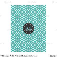 White Aqua Trellis Pattern | Monogram Fleece Blanket