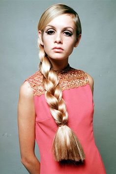 Twiggy with long plaited hair