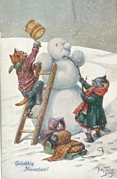 The cats build a snowman.   Иллюстратор Arthur Thiele (1860-1936) (99 работ)