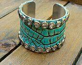 Crocodile Tears, Western Cowgirl Shabby Chic Leather & Rhinestone Cuff Bracelet