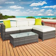 Free Shipping. Buy Outdoor Patio Furniture Cushioned 5PC Rattan Wicker Aluminum Frame Sectional Sofa Set at Walmart.com