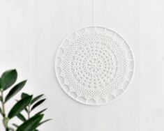 Off white crochet doily wall decor, crochet suncatcher, window decoration, lace doily wall hanging, cottage chic home decor, wedding gift