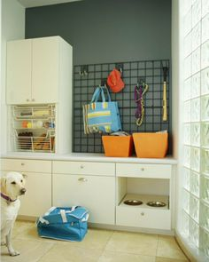Take care of your dog's needs with your next remodeling project by adding a dog shower, feeding station, and supplies storage. Stuffed Animal Storage, Diy Stuffed Animals, Corner Deco, Dog Station, Creative Storage, Storage Ideas, Pet Storage, Storage Caddy, Wall Storage