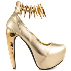 Be in the center of attention with this edgy Privileged pump. The Belong brings you a sleek gold synthetic upper with embellished ankle strap. A metallic covered 6 inch heel and 2 inch platform adds the final details.