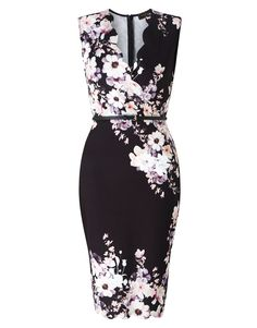 Lipsy Belted Floral Scallop 2 In 1 Dress