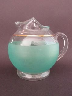 2e98a0ca512 Rare-West-Virginia-Glass-Company-Blendo-Round-Frosted-Green-Pitcher-w-Gold-Trim.  I have this little pitcher!
