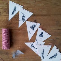 Screen printed bunting with kingfishers and feathers. This product is handprinted on to high quality watercolour paper and sewed with red and white bakers twine Paper Crafts, Diy Crafts, Paper Goods, Watercolor Paper, Bunting, Twine, Making Out, Screen Printing, Red And White