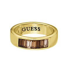 Guess Yellow Gold Plated Baguette Cut Crystal Ring Small - Product number 2337134