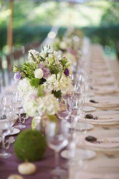 Purple & white wedding flowers