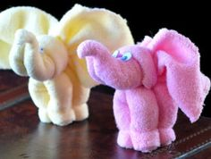Sewing Baby Gift Wash Cloth Elephants Tutorial and Videos. Perfect for a Baby Shower Gift. - Learn more about these adorable baby washcloth elephants and how you can use them on diaper cakes and as baby shower favors. Baby Crafts, Crafts For Kids, Diaper Crafts, Easter Crafts, Elephant Diaper Cakes, Elephant Baby, Towel Animals, Baby Animals, Do It Yourself Baby