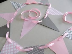 Baby shower decorations / Pink and Gray by anyoccasionbanners