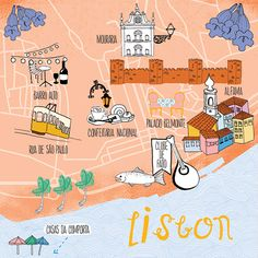 Jennifer Reynolds - Map of Lisbon for AerLingus Travel Maps, Travel Posters, Travel List, Lisbon Map, National Airlines, Country Maps, Spain And Portugal, City Maps, Map Design