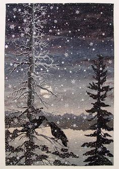 The Ravens of Angel's Crest art quilt by Thom Atkins Landscape Art Quilts, Tree Quilt, Quilt Art, Art Quilting, Winter Quilts, Applique Quilts, Fabric Art, Cotton Fabric, Oeuvre D'art