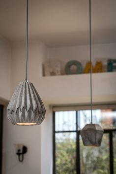 Concrete pendant lampshade with design inspired by the Japanese paper folding art, Origami. The lampshade provides a soft beam of light, using lamp (LED lamp included) and with adjustable height. Pendant Lamp Shade, Inspiration, Beams, Pendant Light, Home, Concrete, Home Decor, Concrete Pendant, Ceiling Lights