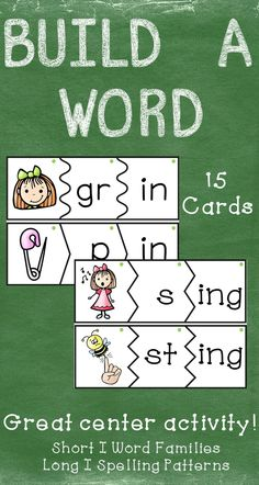 $ These build a word puzzle cards are a great activity for students to do during literacy centers or after completing classwork. They can be used in a pocket chart or on the floor.  Word Families featured in this set are –in, and –it. Spelling patterns featured in this set are –ing.