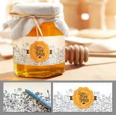 Create a classic honey label for a family farm Honey Label, Honey Jar Labels, Honey Jars, Jar Design, Bottle Design, Label Design, Design Package, Design Food, Logo Design