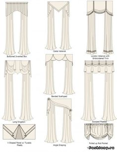 Types Styles of Swags Valances: Buttoned Inverted Box/Casta Valance/London Valance with Embroidered Trim/Long Kingston/Banded Scallops/Scooped Pleated/V Shape Panel with Tuxedo Pleats/Angle Draping/Pulled Up Rod Pocket