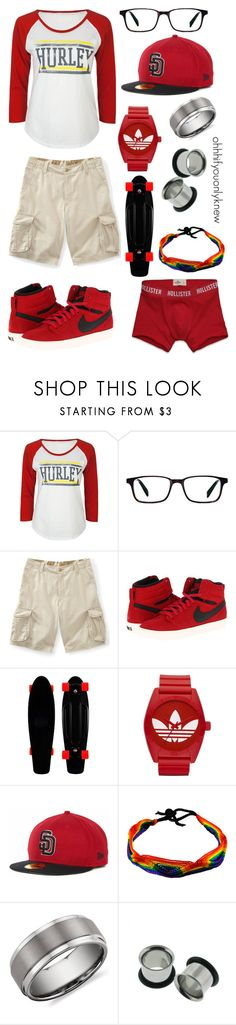 """""""Untitled #79"""" by ohhhifyouonlyknew ❤ liked on Polyvore featuring Hurley, Warby Parker, Aéropostale, NIKE, adidas Originals, Blue Nile, Hollister Co., comfy, tomboy and my style"""