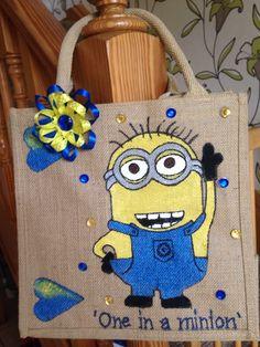 Personalised hand painted jute bag minion