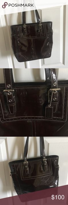 Coach pocketbook brown patent leather Coach brown patent leather pocketbook. Almost new condition. Worn once. Coach Bags Totes