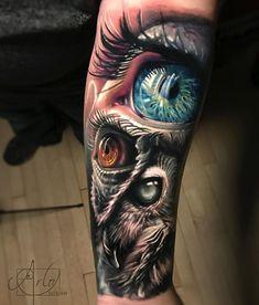 Owl & Human Eyes - Best Forearm Tattoos - Cool Ideas And Designs Weird Tattoos, Badass Tattoos, Body Art Tattoos, Sleeve Tattoos, Tattoos For Guys, Tatoos, Leg Tattoos, Arlo Tattoo, Owl Eye Tattoo